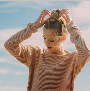 Brandy Melville Light Pink Cable Knit Sweater